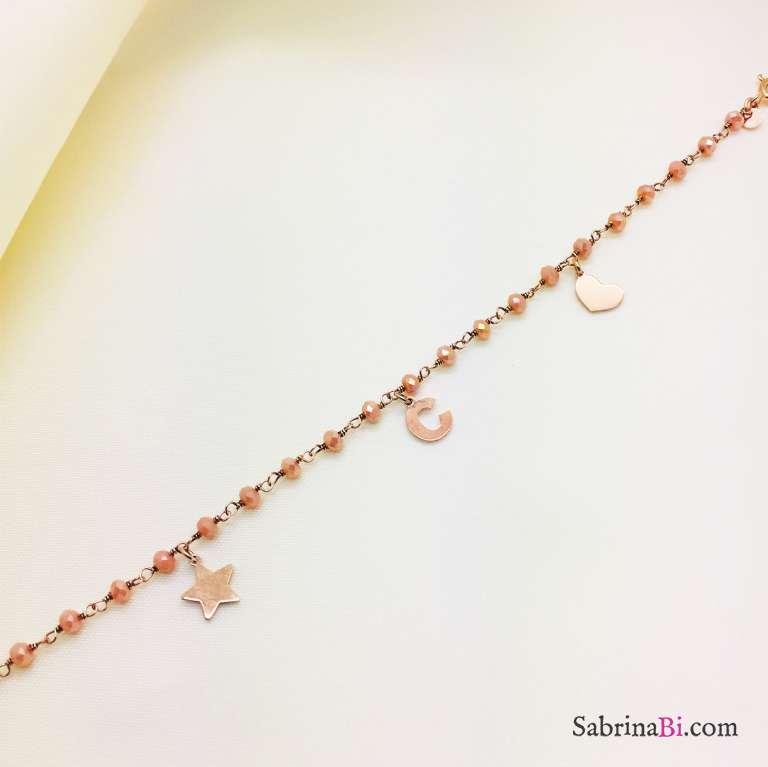 Bracciale argento 925 Agata rosa con Lettera, cuore e stella