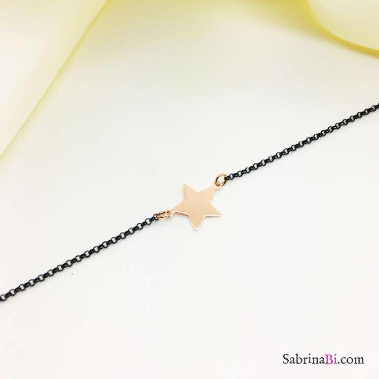 Bracciale argento 925 brunito stella