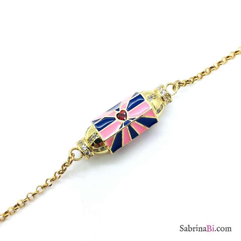 Bracciale argento 925 oro giallo Locket blu e rosa Cuore