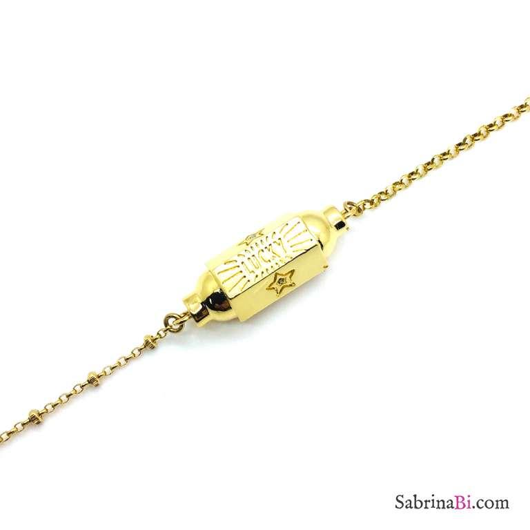 Bracciale argento 925 oro giallo Locket Lucky