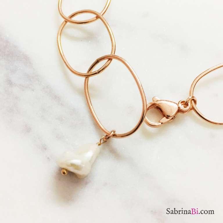 Bracciale argento 925 oro rosa ovali grandi lisci e Perla Barocca
