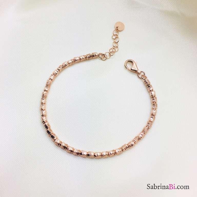 Bracciale argento 925 oro rosa pepite diamantate small