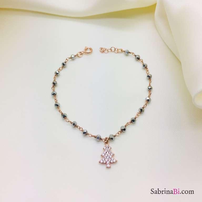 Bracciale argento 925 oro rosa rosario Ematite Albero di Natale
