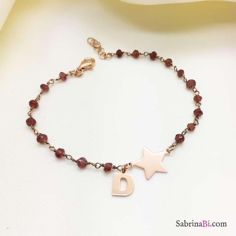Bracciale argento 925 oro rosa rosario Granato Stella + lettera