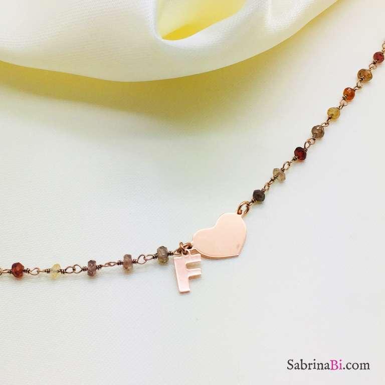 Bracciale argento 925 oro rosa rosario pietre dure Cuore + lettera