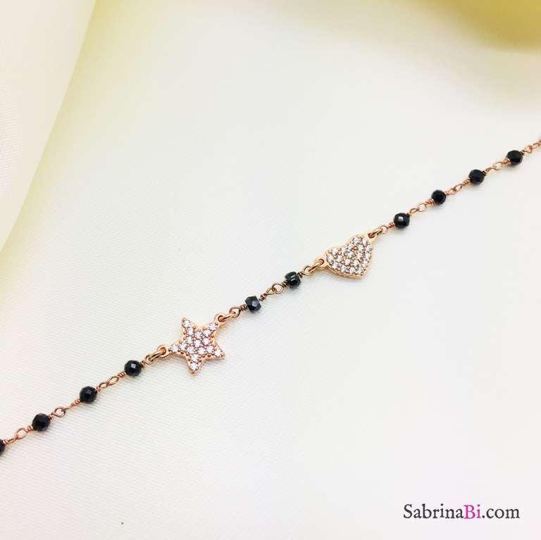 Bracciale argento 925 oro rosa rosario Spinelli neri Stella e cuore Zirconi