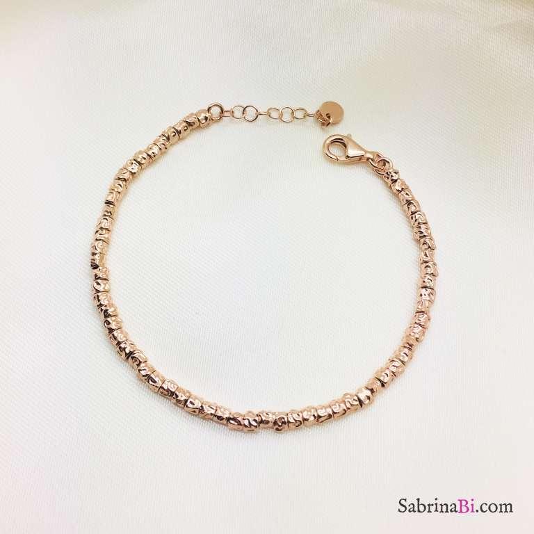 Bracciale argento 925 oro rosa tubetti martellati small