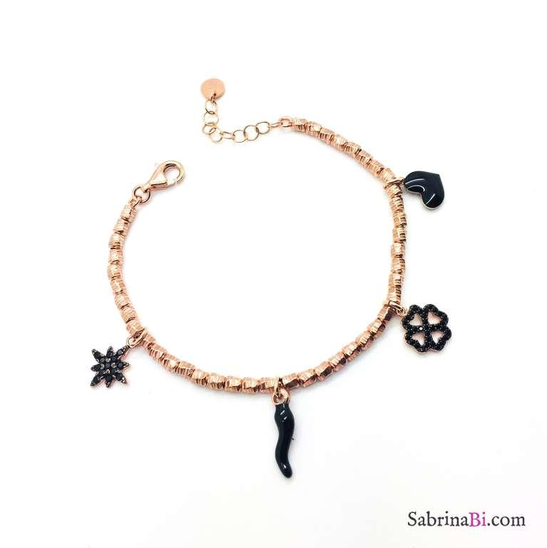 Bracciale pepite argento 925 oro rosa Black charms