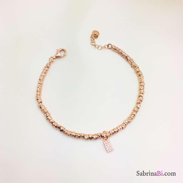 Bracciale pepite argento 925 oro rosa Lettera Zirconi