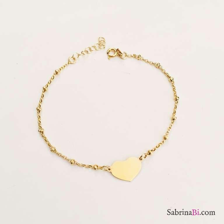 Bracciale rosario argento 925 oro giallo Big Heart