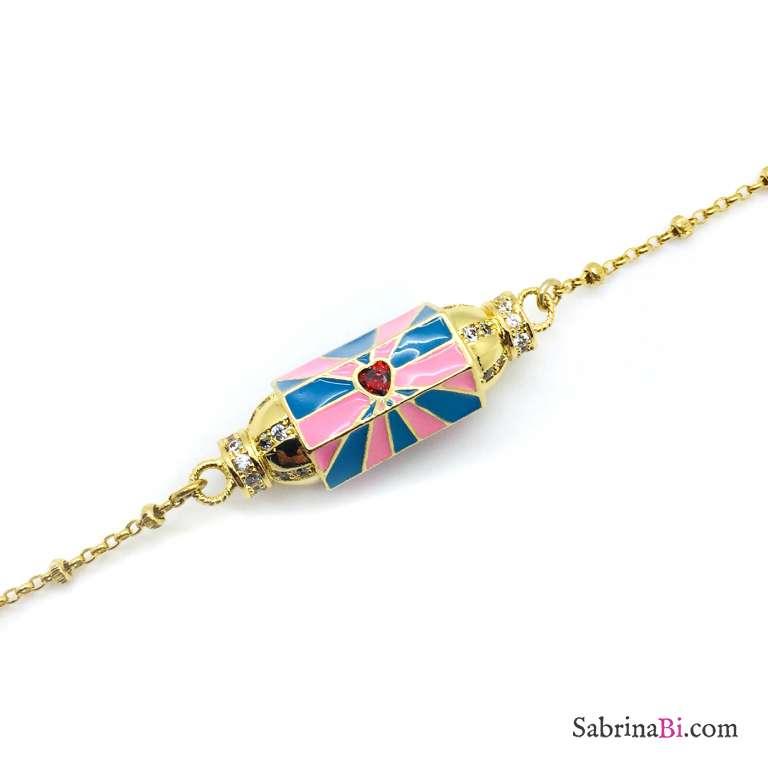 Bracciale rosario argento 925 oro giallo Locket azzurro e rosa Cuore