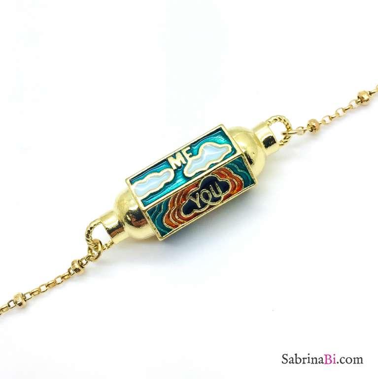 Bracciale rosario argento 925 oro giallo Locket verde chiaro