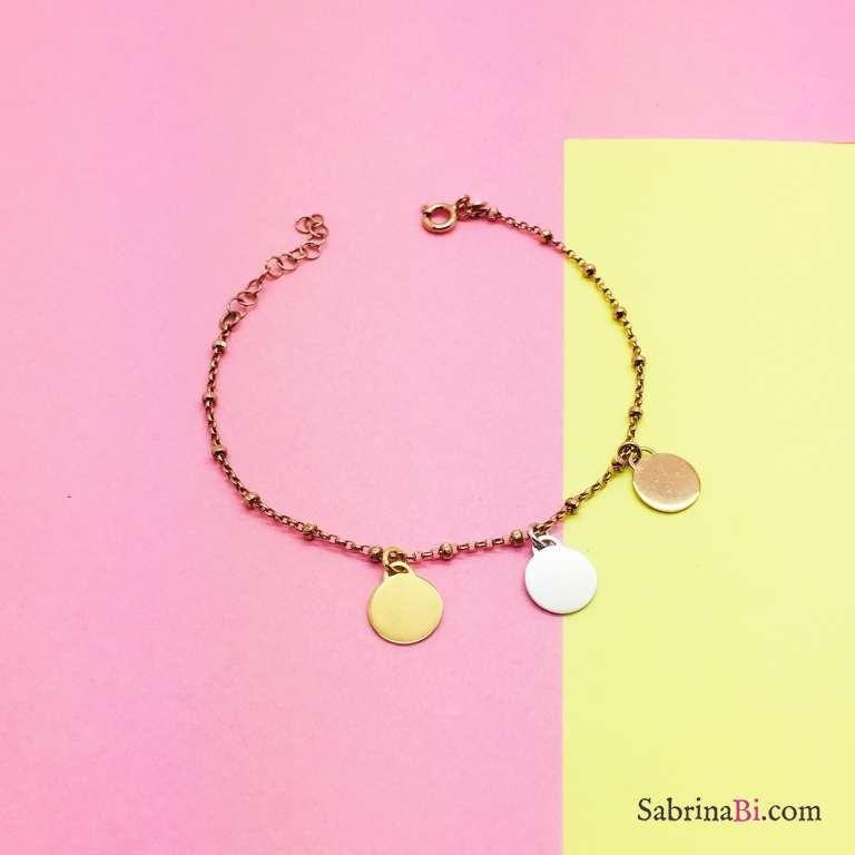 Bracciale rosario argento 925 oro rosa 3 dischi Trilogy