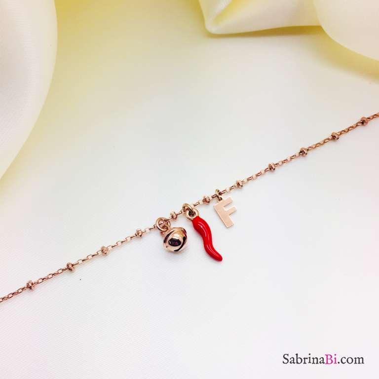 Bracciale rosario argento 925 oro rosa lettera, peperoncino e campanella