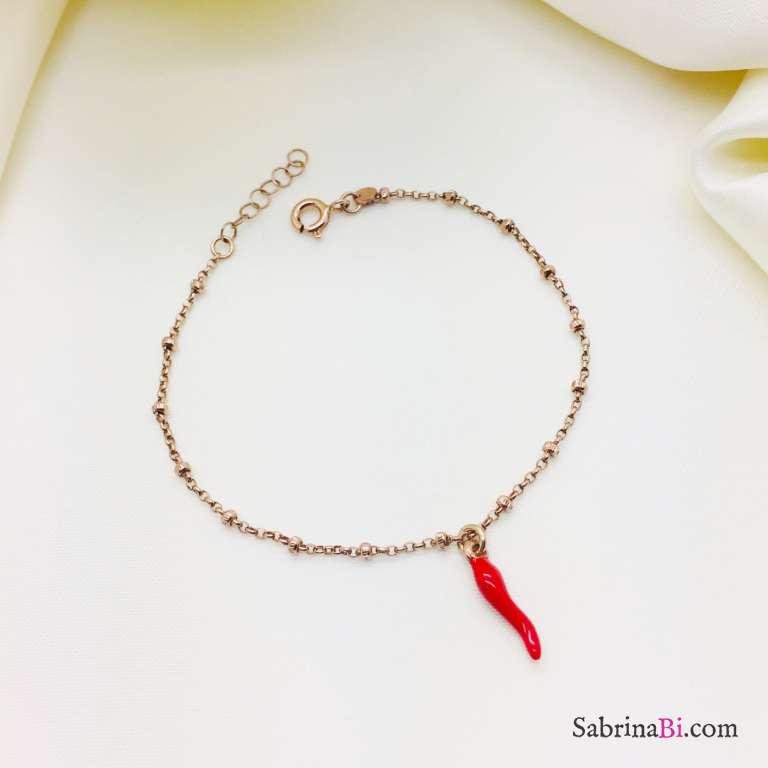 Bracciale rosario argento 925 oro rosa peperoncino rosso
