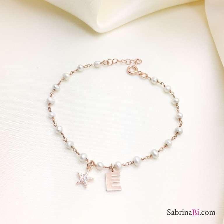 Bracciale rosario argento 925 oro rosa Perle Lettera e stella Zirconi