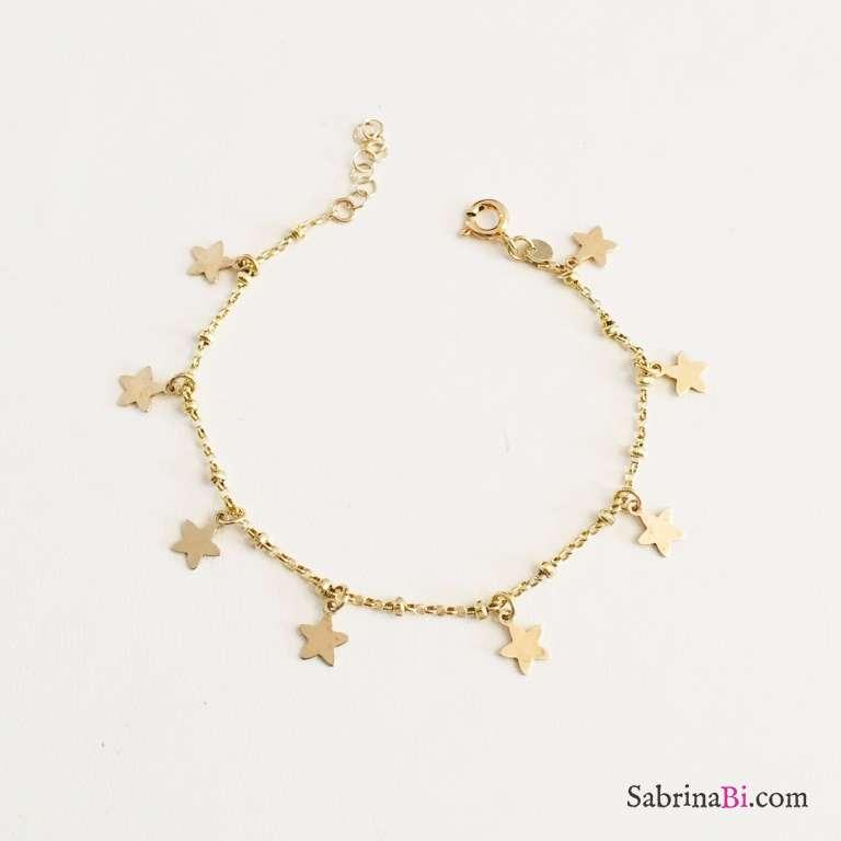 Bracciale rosario Tutto Stelle argento 925 oro giallo