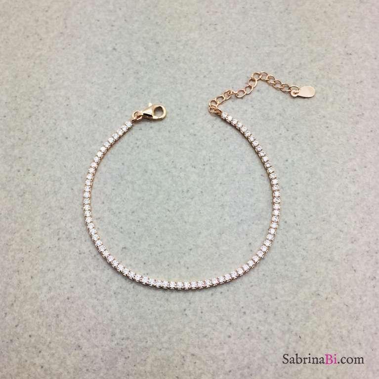 Bracciale Tennis argento 925 oro rosa micro Zirconi