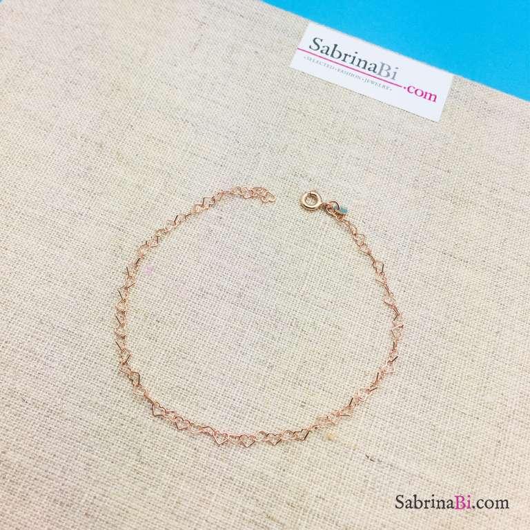 Cavigliera catena a cuore piccolo argento 925 oro rosa