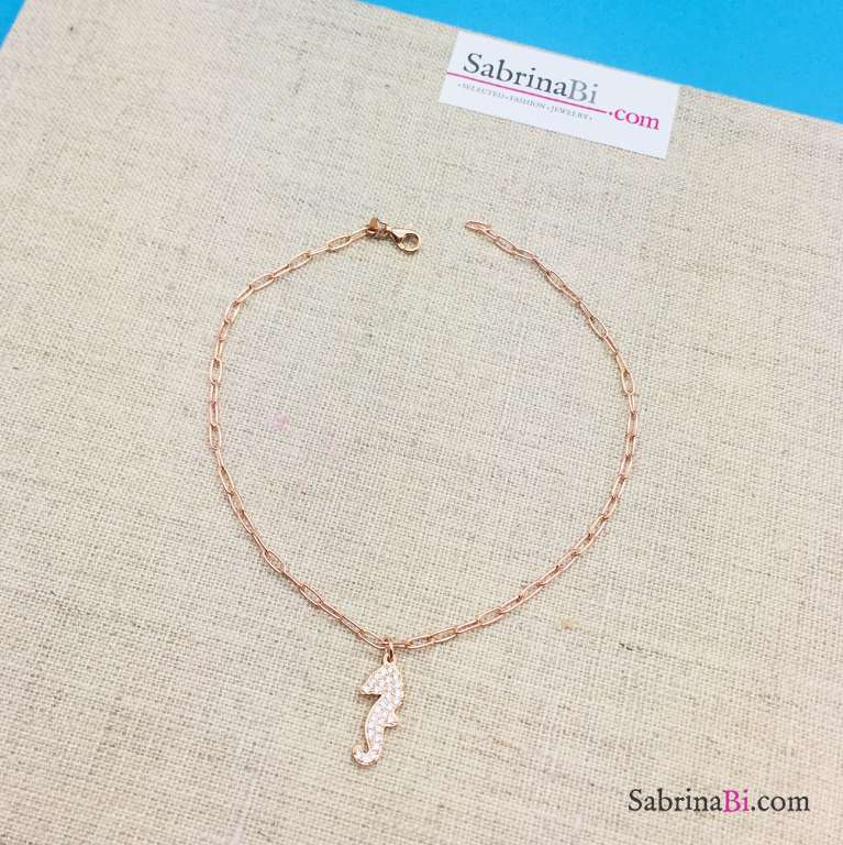 Cavigliera catena rettangolare argento 925 oro rosa cavalluccio marino Zirconi