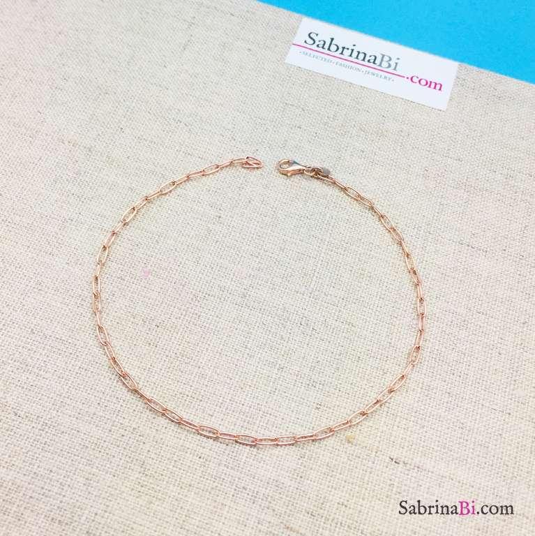 Cavigliera catena rettangolare argento 925 oro rosa