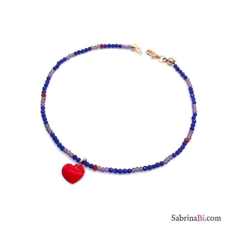 Cavigliera micro perline viola cuore rosso