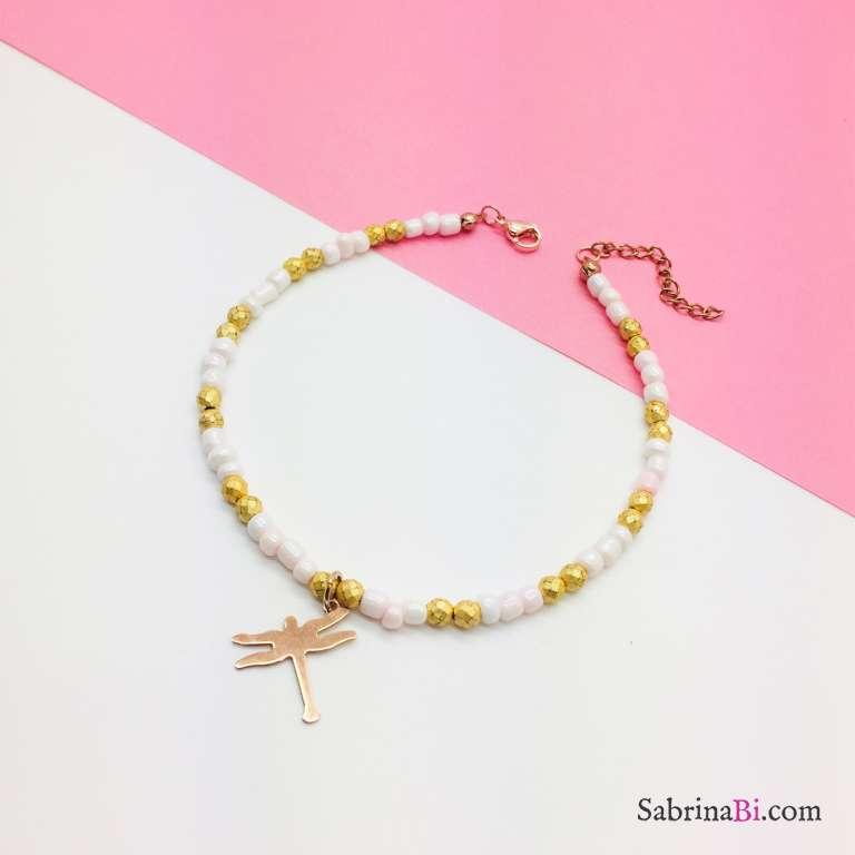 Cavigliera perline rosa e oro libellula