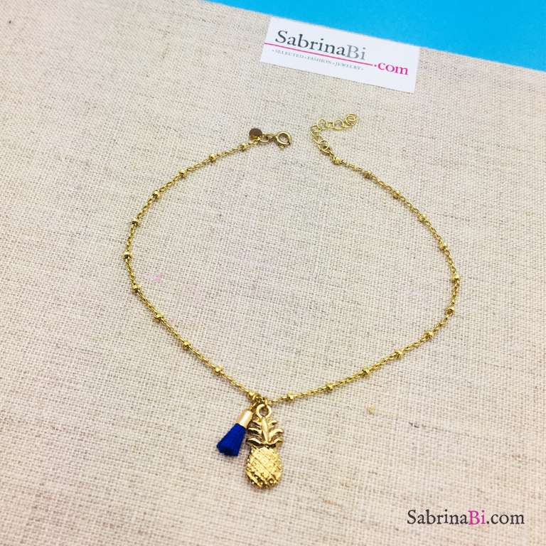 Cavigliera rosario argento 925 oro giallo Ananas e nappa