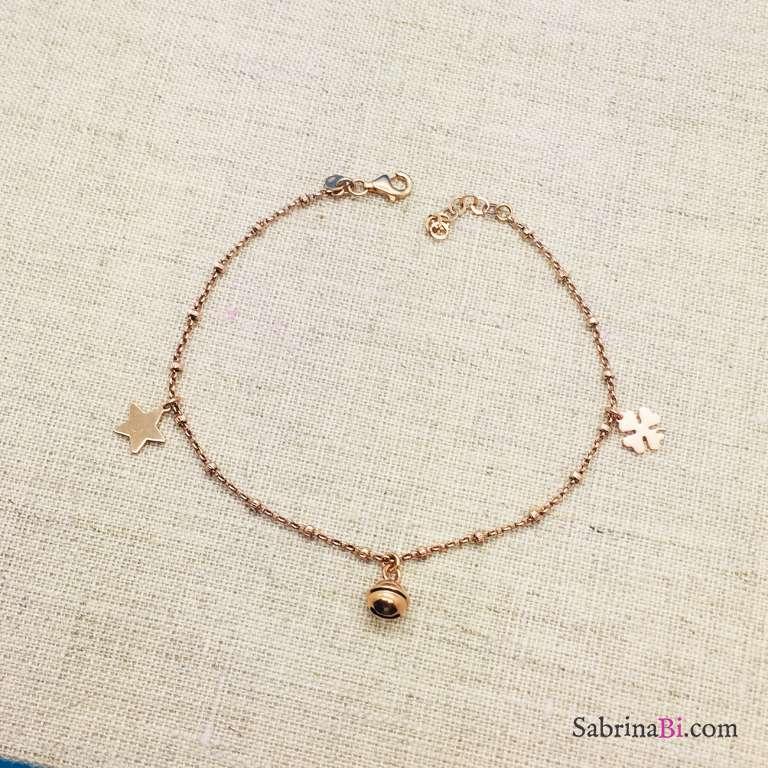Cavigliera rosario argento 925 oro rosa 3 charms