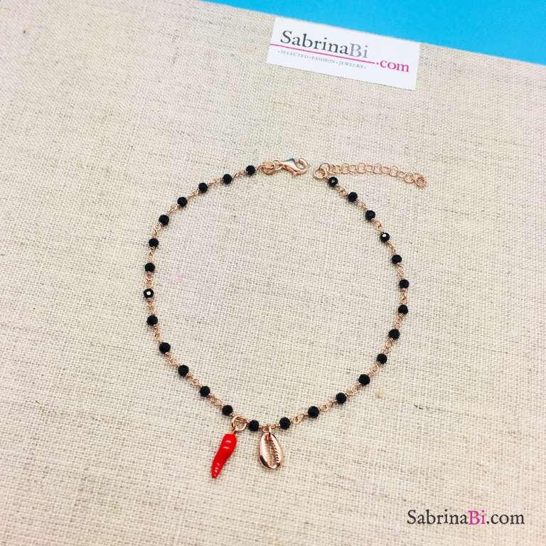 Cavigliera rosario argento 925 oro rosa Spinelli neri, cornetto e conchiglia