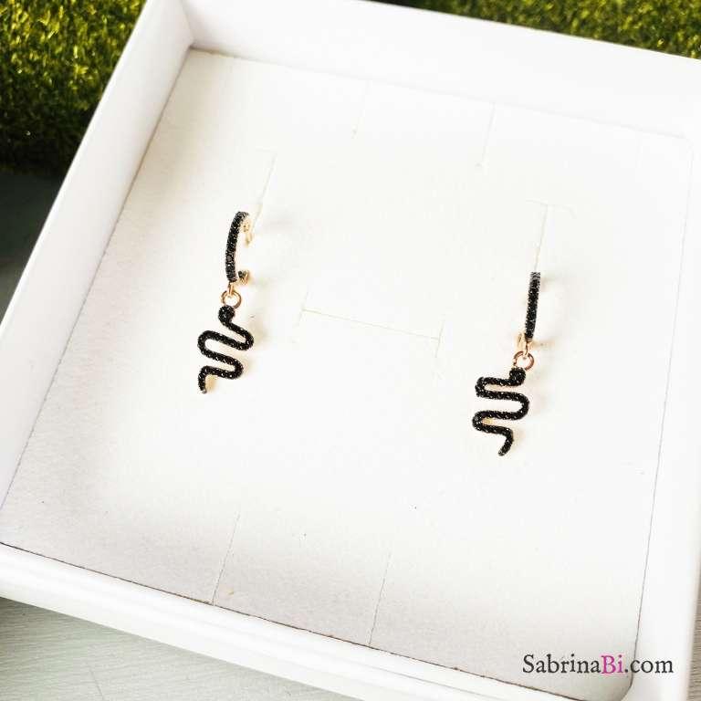 Cerchi zirconati argento 925 oro rosa Snake