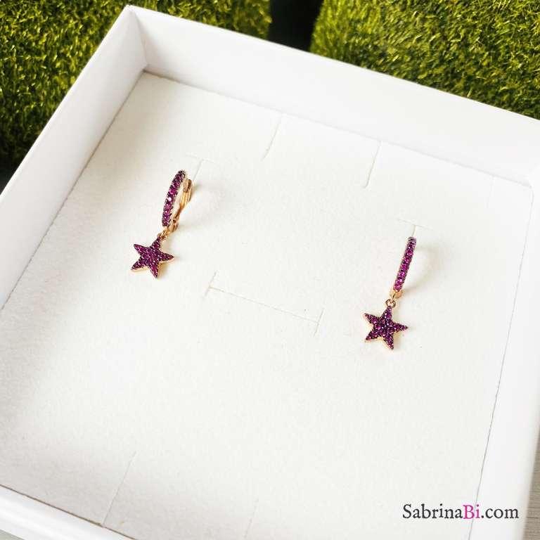 Cerchi zirconati argento 925 oro rosa Stars