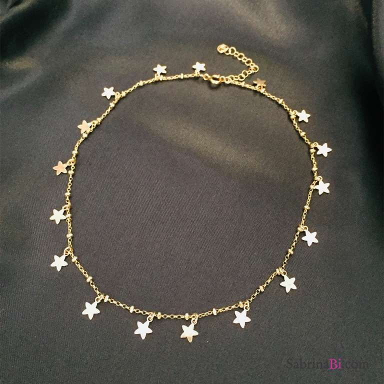 Choker rosario argento 925 oro giallo Tutto Stelle