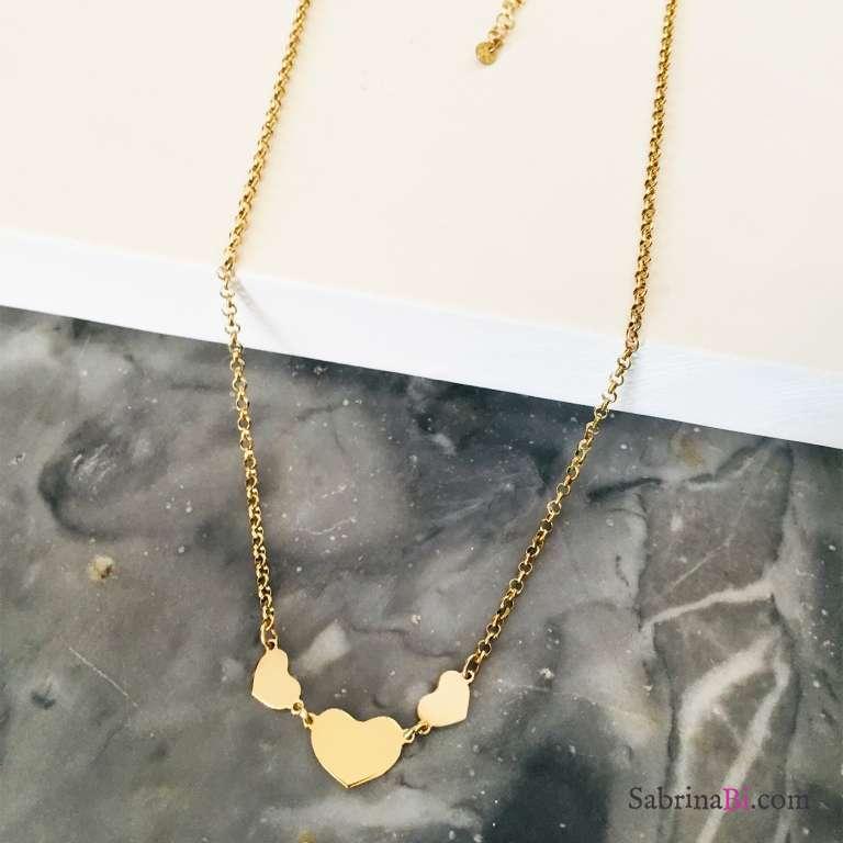 Collana 3 Cuori argento 925 oro giallo