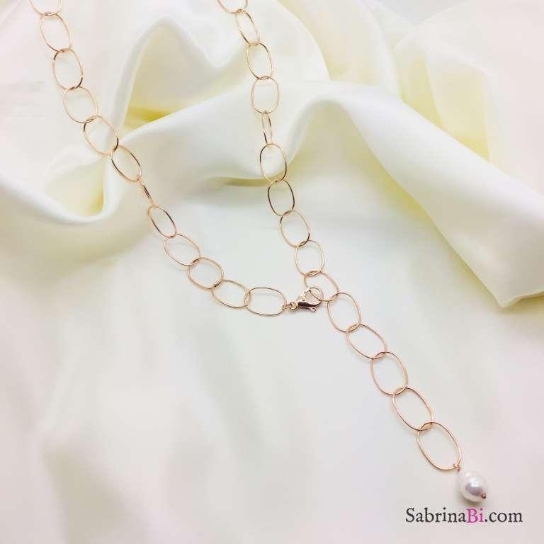 Collana a Y argento 925 oro rosa ovali grandi lisci e Perla barocca