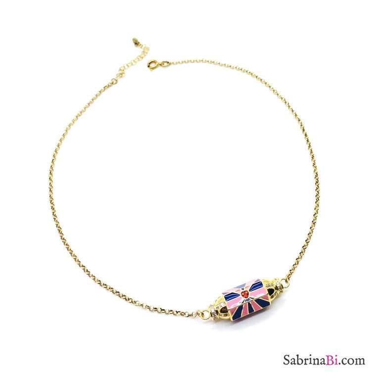 Collana argento 925 oro giallo Locket blu e rosa Cuore