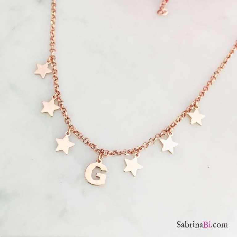 Collana argento 925 oro rosa lettera iniziale nome e stelle