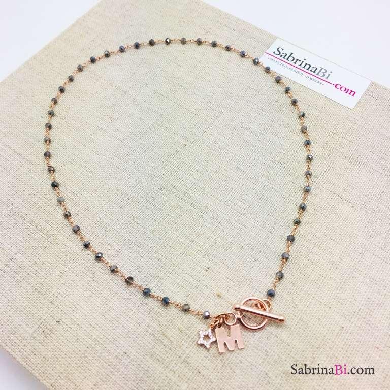 Collana argento 925 oro rosa rosario Ematite e lettera