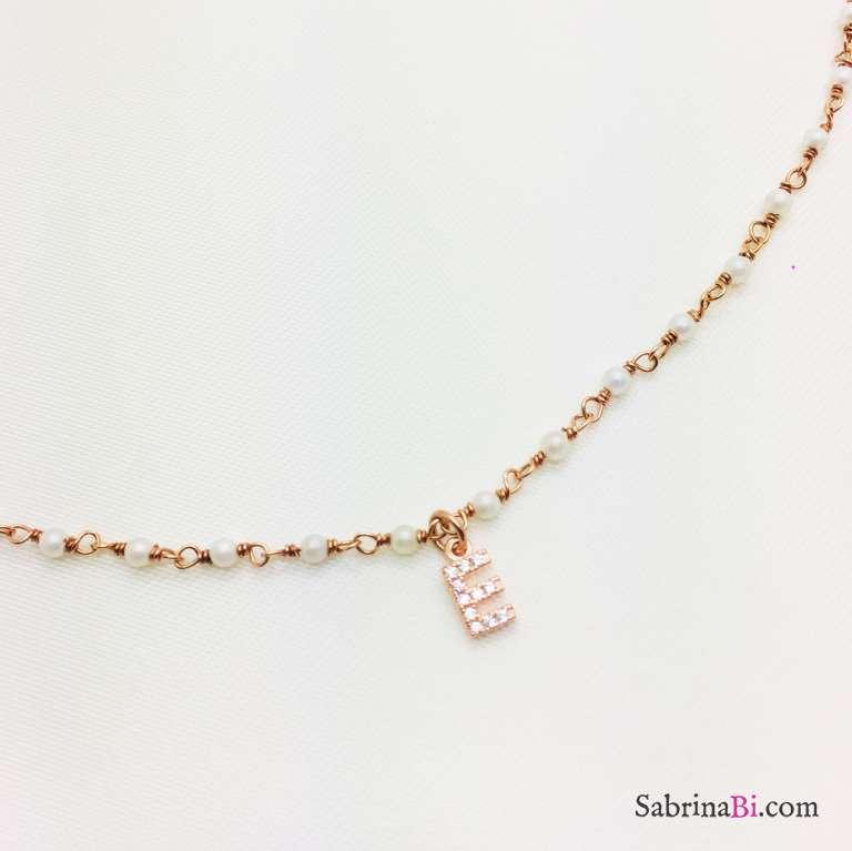 Collana argento 925 oro rosa rosario Perle e lettera Zirconi