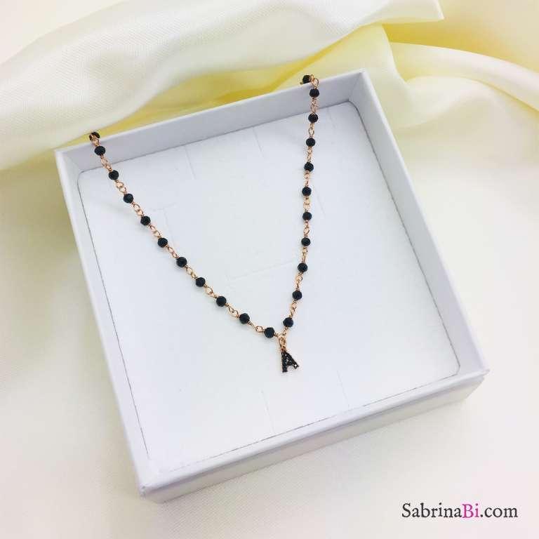 Collana argento 925 oro rosa rosario Spinelli e lettera Zirconi neri