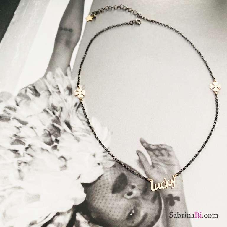 Collana argento 925 rodiato nero Zada