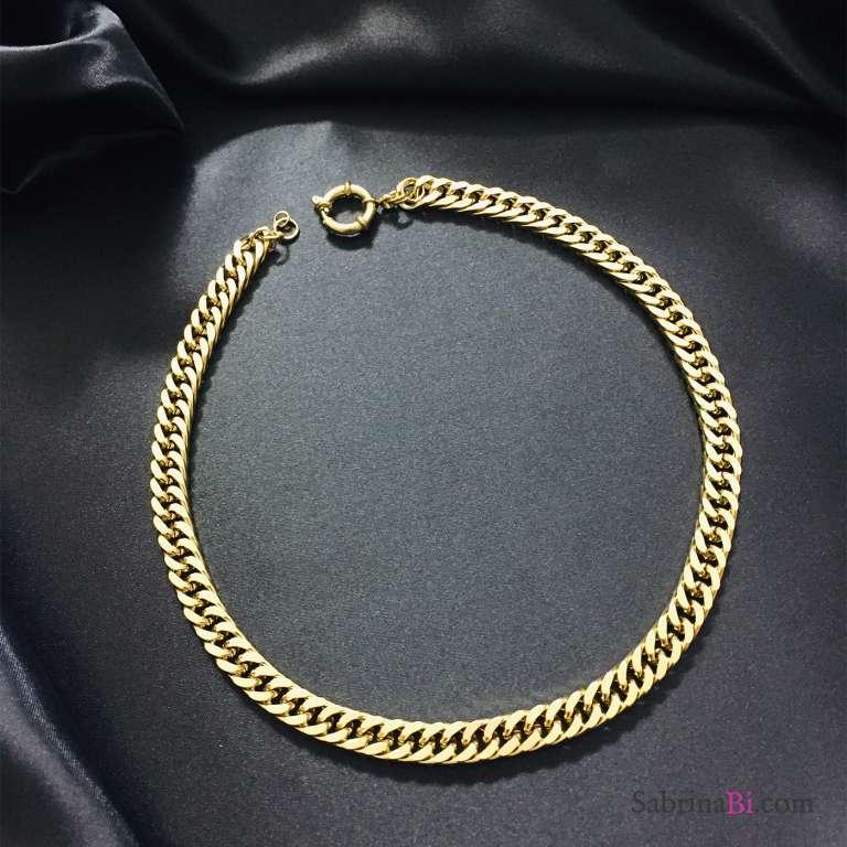 Collana catena groumette larga e piatta oro