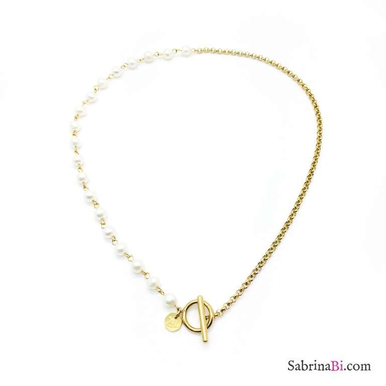 Collana catena oro e perle chiusura a T