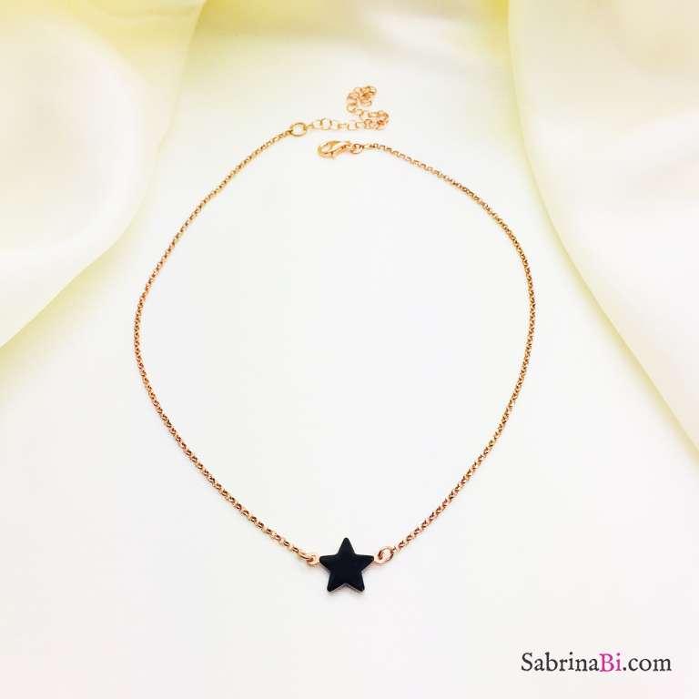 Collana choker argento 925 oro rosa stella smalto nero