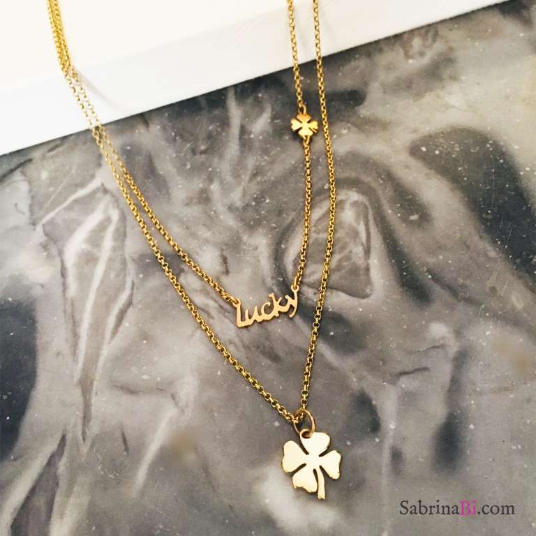 Collana doppia argento 925 oro giallo Bonheur 2