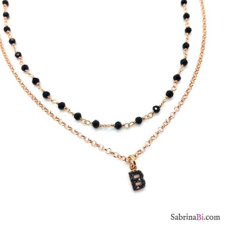 Collana doppia argento 925 oro rosa Elettra