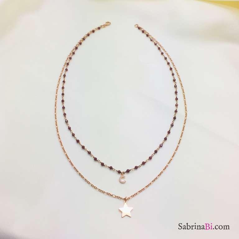 Collana doppia rosario Granato argento 925 oro rosa Stella e lettera