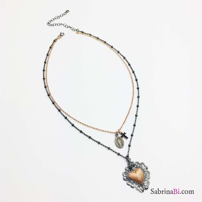 Collana due fili argento 925 Sacred Heart