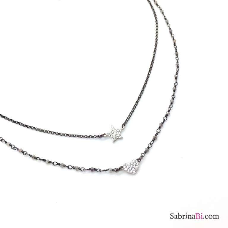 Collana due fili rosario argento 925 rodiato nero Cuore e Stella