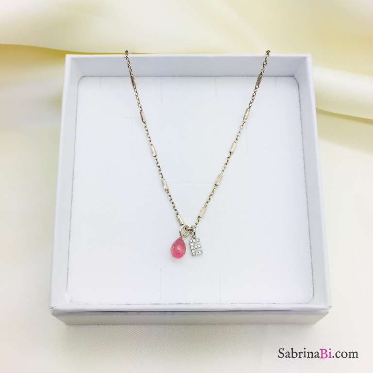 Collana girocollo argento 925 Lettera Zirconi e Quarzo rosa